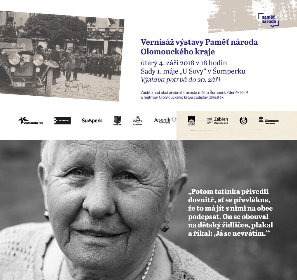 pozvánka na vernisáž výstavy Paměť národa Olomouckého kraje Šumperk