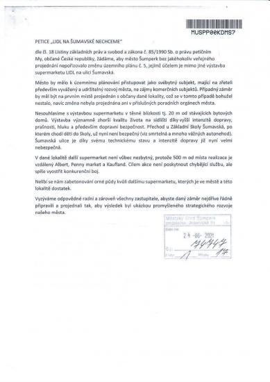 Cele znění petice